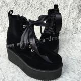 Girl's Gothic Black Velvet Lolita High Platform