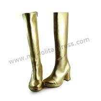 Glossy Gold Middle Shaft Lolita Boots