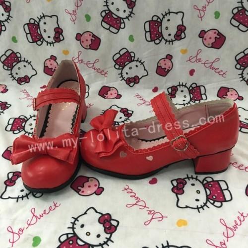 Black Bow Hearts Lolita Shoes