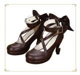 Angelic Imprint- Popular Brown Bow Lolita Anime Heels Shoes
