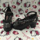 Double Bow Dark Coffee Girls Lolita Shoes