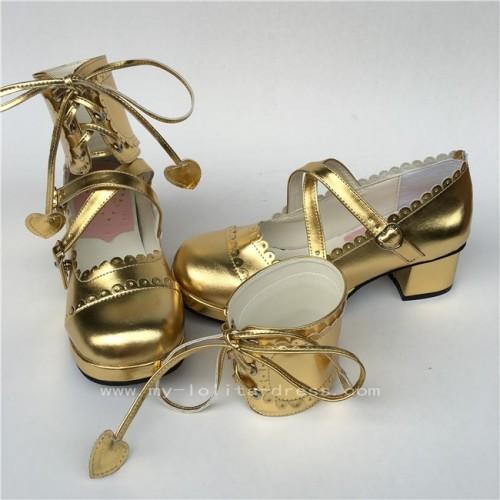 Black Shiny Ankle High Lolita Shoes