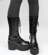 Lace-up Black Matte Lolita Boots