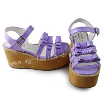 Purple Wood Color Sole High Platform Shoes