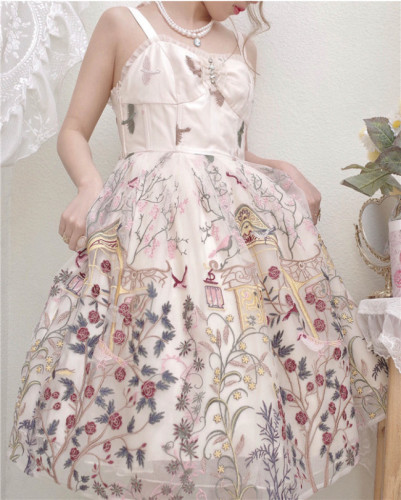 UnicornTears ~ Flowers And Birds Roll Lolita JSK -Ready Made