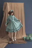 Vintage Unicolor Babydoll Style Roll Collar Lolita OP - Ready Made