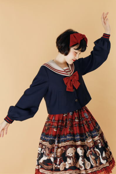 Navy Little Sweetener Windbreaker~ Vintage Sailor Style Lolita Coat