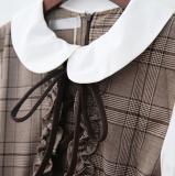 Sweet Petan Pan Collar Fake Two-pieces Vintage Dress