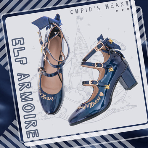 Cupid's Heart - Sweet PU Lolita Heel Shoes -Ready Made Navy Size 39 - In Stock