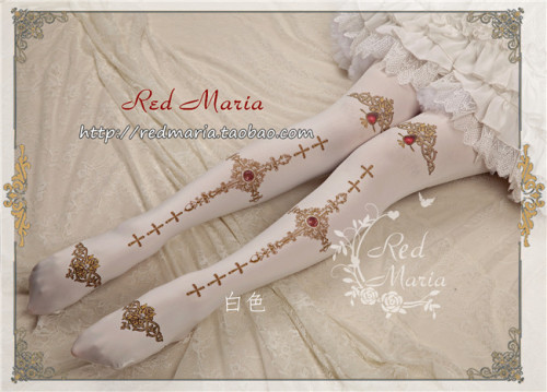 Red Maria Velvet Cross Printed Lolita Tights