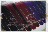 Red Maria Velvet Cross Printed Lolita Tights