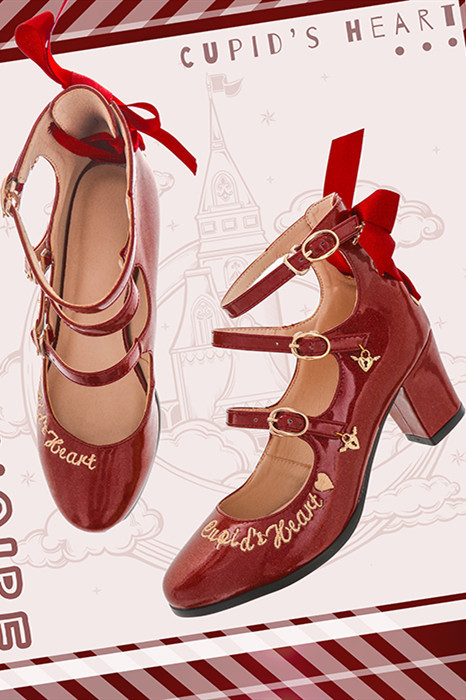Cupid's Heart - Sweet PU Lolita Heel Shoes -Pre-order