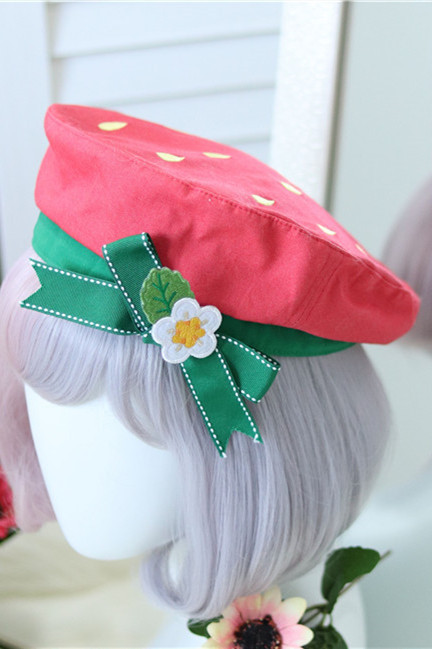 Sweet Strawberry Canvas Lolita Beret -Ready Made