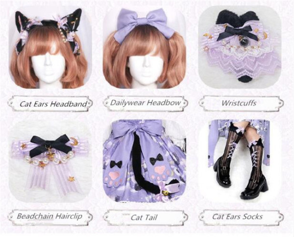 Black Cat Nebula~ Gothic Lolita  Accessories -Ready Made
