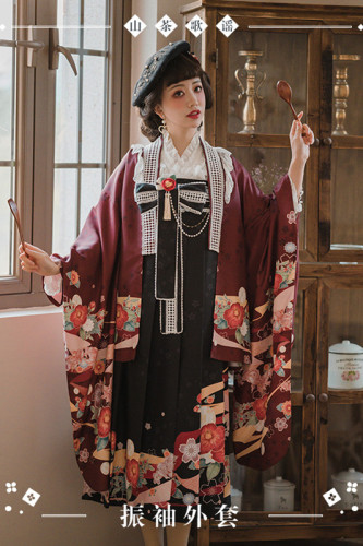 NyaNya Lolita Boutique ~Camellia Ballad Furisode Sleeves Haori Coat -Ready Made