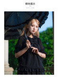Cicadas Tweet Chiffon Lace Lolita Blouse Black Size S - In Stock