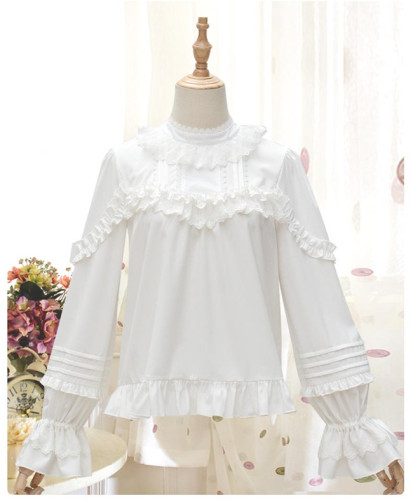Blooming Flowers Chiffon Lace Lolita Blouse Long Sleeves Size S - In Stock