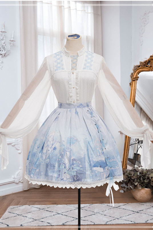 Ying Luo Fu ~With a whale Lolita Normal Waist Skirt