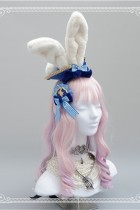 Navy Bow Badge Bunny Ear Top Hat~ Lovely Lolita Accessaries