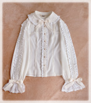 Little Dipper ~Toffee Lace Long Sleeves Lolita Blouse -Ready made Black Size 2XL - In STOCK