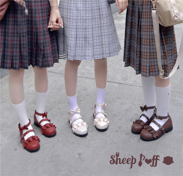 Sheep Puff~ Japanese Lace Round-head Student Lolita Shoes- Pre-order