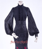 Surface Spell ~Lorelai Stand-up Collar Wrinkled Sleeve Chiffon Blouse Custom-tailor Available