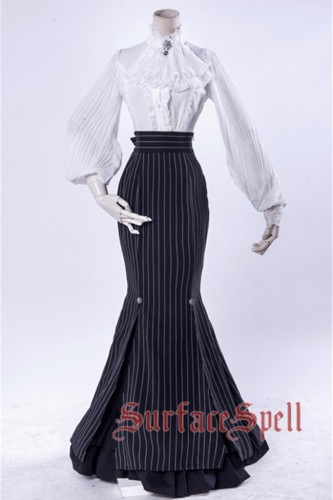 Surface Spell ~Lorelai Stripe Lolita Fishtail Skirt