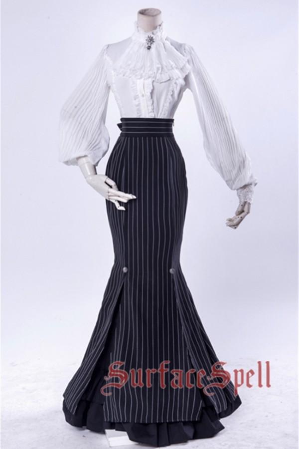 Surface Spell ~Lorelai Stripe Lolita Fishtail Skirt