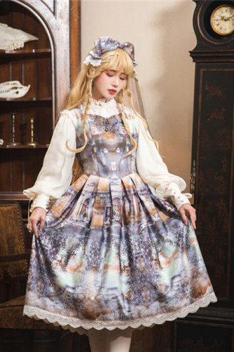 The Dawn of Gods Printed Lolita JSK -(Custom-tailor Available)