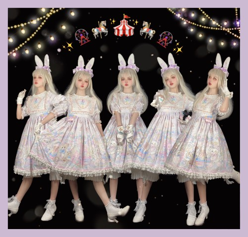The Rainbow Circus~ Sweet Lolita OP-Ready Made