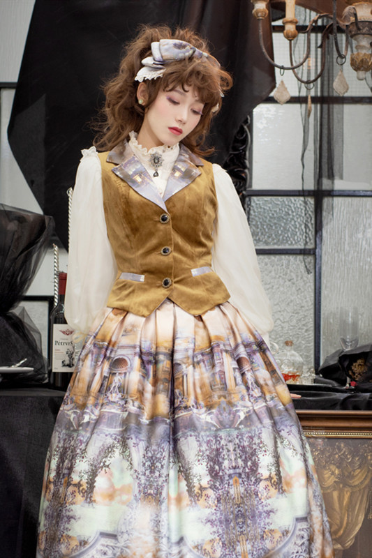 The Dawn of Gods Printed Vest/Skirt/Blouse-Ready Made(Custom-tailor Available)
