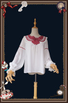 Infanta ~Raspberry Rabbit Ears Lolita Blouse- Ready Made