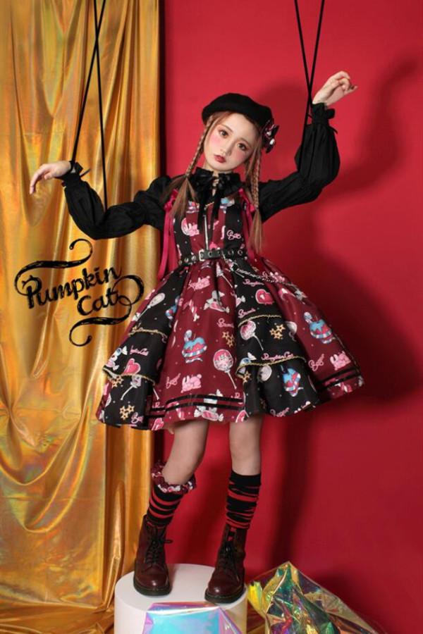 Pumpkin Cat ~Creepy Sugar Lolita JSK/Salopette -Ready Made