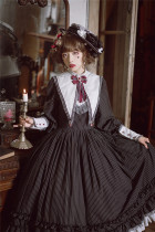 Fantastic Wind ~Humanoid House~ Stripe Lolita OP + Fake Collar -Pre-order