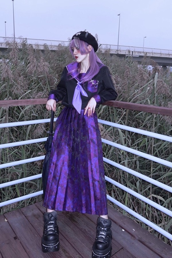 Blood ~The Disappearance of Purple Butterfly Blouse/SK