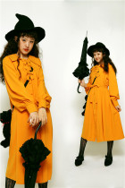 Vintage Unicolor Sharp Collar Lolita OP Dress