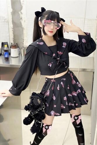 Diamond Honey ~Naval Collar College Style~ Lolita Top + Skirt Set