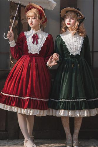 Rose Humanoid~ Velvet Vintage Classic Lolita OP -Ready Made