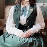 Rose Humanoid~ Velvet Vintage High Waist Lolita Vest/Skirt -Ready Made