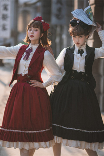 Rose Humanoid~ Velvet Vintage High Waist Lolita Vest/Skirt -Ready Made