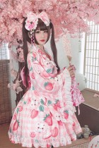 Diamond Honey ~Cherry Strawberry~ 2020 Lolita Top+Skirt Yukata Set