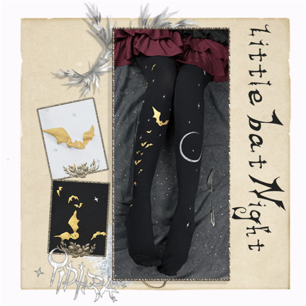 Yidhra Lolita ~Little Bat Night Gothic Lolita Autumn and Winter Tights-Pre-order