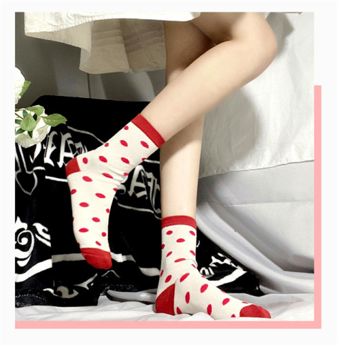 Sheep Puff~ Polka Dot Cute All-match Japanese Lolita Cotton Socks