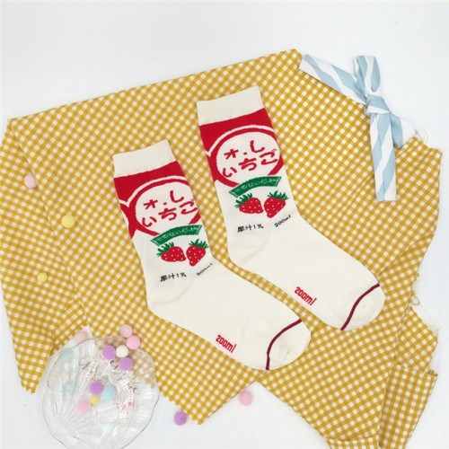 Sheep Puff~ Meiji Strawberry Milk Juice Hokkaido All-match Japanese Lolita Cotton Socks
