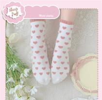 Sheep Puff~ Peach Heart Lace Sweet All-match Japanese Lolita Cotton Socks
