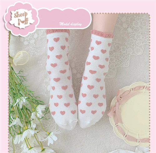 Sheep Puff~ Peach Heart Lace Sweet All-match Japanese Lolita Cotton Socks