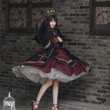 Withpuji Embroidery Cross Dark Gothic Lolita OP