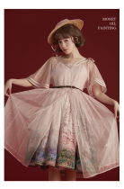 Monet Oil Painting~Dairywear Version Lolita Dailywear JSK/Overskirt -Ready Made Pink JSK Size L - In Stock