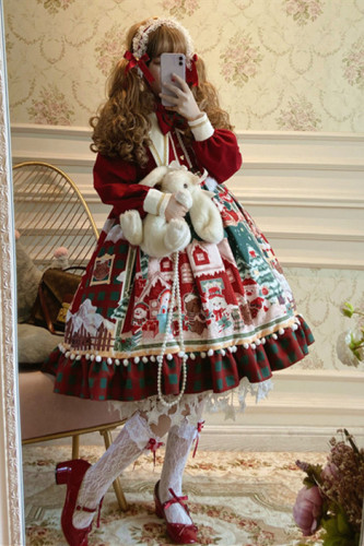 Christmas Snowman House Babydoll Style Lolita OP