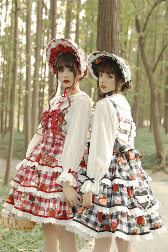 Alice Girl ~Plaid Strawberry Lolita Saloppette -Pre-order